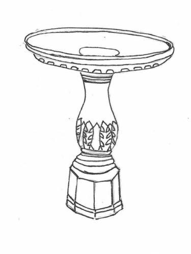 "Festooned Bowl - 23"" diameter, Fern Leaf Base - 26"" high"
