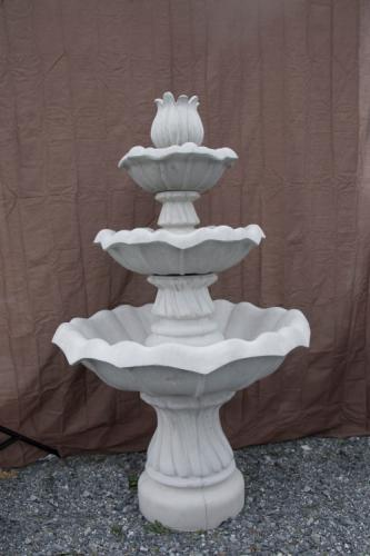 Three Bowl Tulip Fountain with Tulip Center and Swirl Base