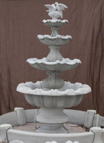 Four Bowl Tulip Fountain with Doves