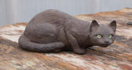 "Crouching Cat with Eyes - 13"" long"