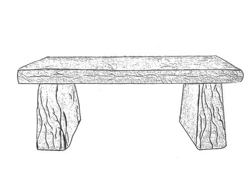 "Stone Bench - straight, 41"" long"