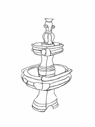 "French Fountain - 27"" wide, 48"" high"