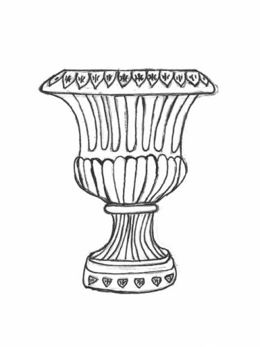 """Fleur De Lis Urn - 19"""" diameter, 28"""" high"""