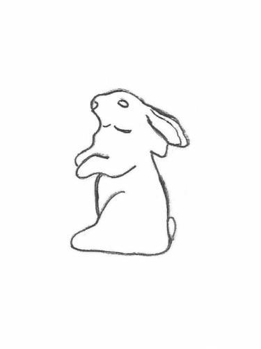 """Rabbit Standing Ears Back - 12"""""""