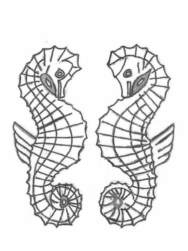 """Seahorse Pair - Plaque LIR 27"""""""