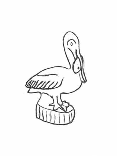 """Pelican with Fish - 17"""""""