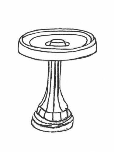 "Perch Bowl - 21"" diameter, Large Lamppost Base - 24"" high"