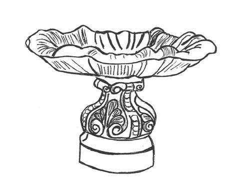 "Scroll Large Bowl - 38"" diameter, Large Italian Base 19"" high"