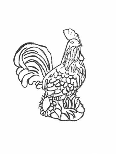 Rooster with Sunflower - 16""