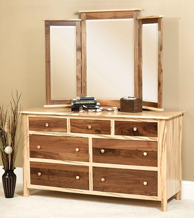 Cornwell Dresser - tri-view mirror, two-toned