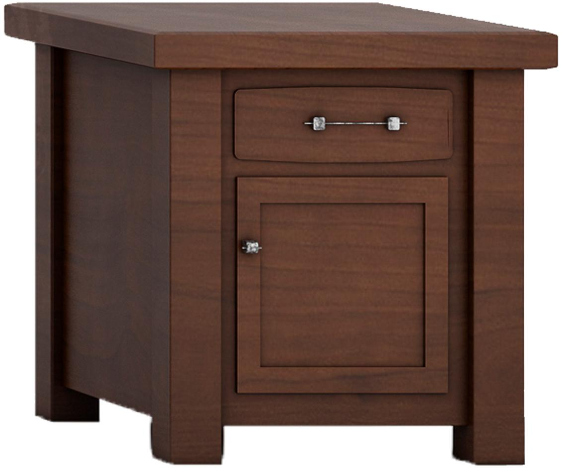 Barn Floor Office Collection Square Table - 1 drawer and 1 door