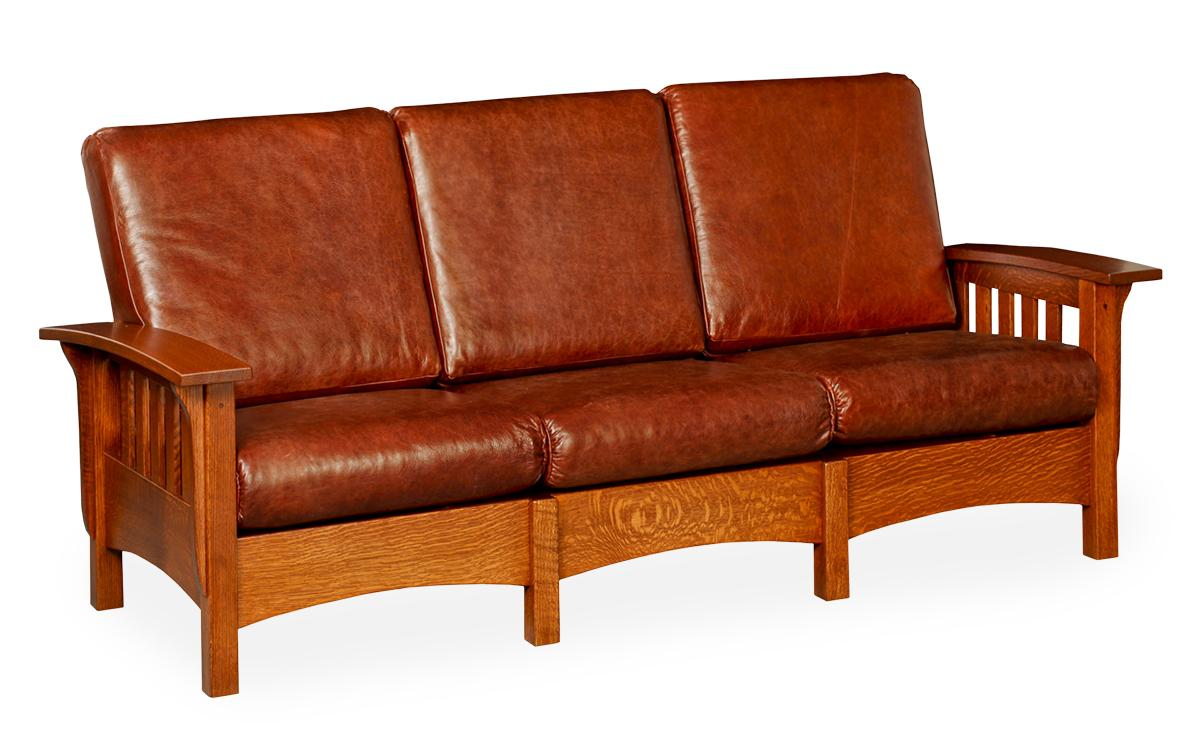 Classic Mission Leather Sofa