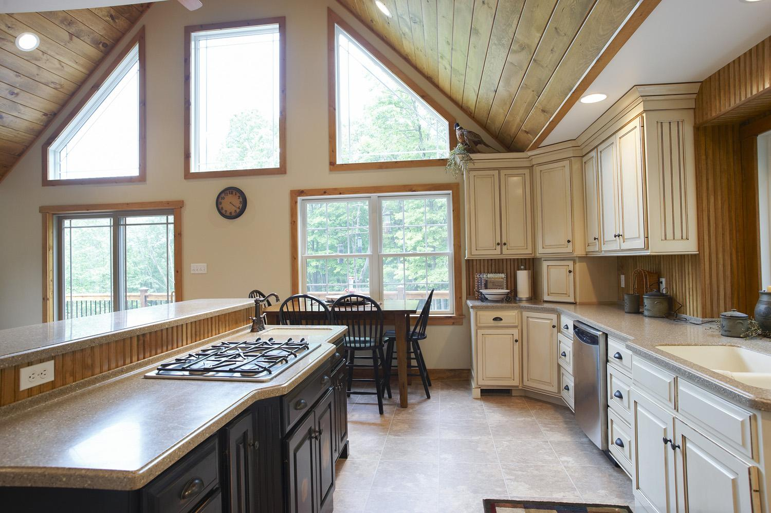 Country kitchen cabinets and island