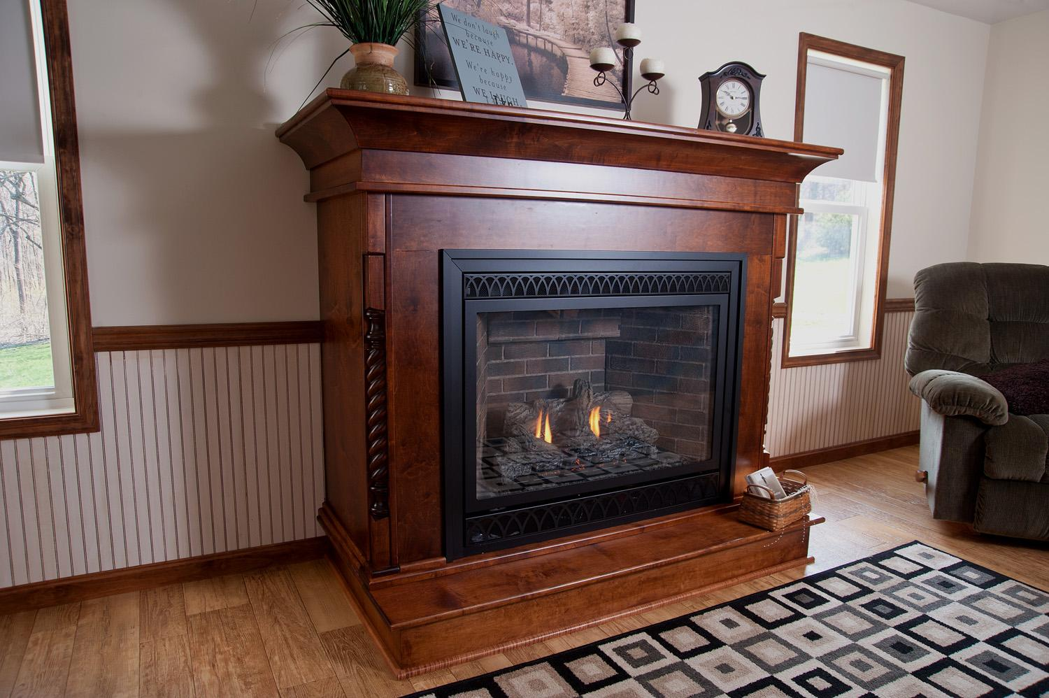 Custom built fireplace - the charm of wood and the practicality of gas