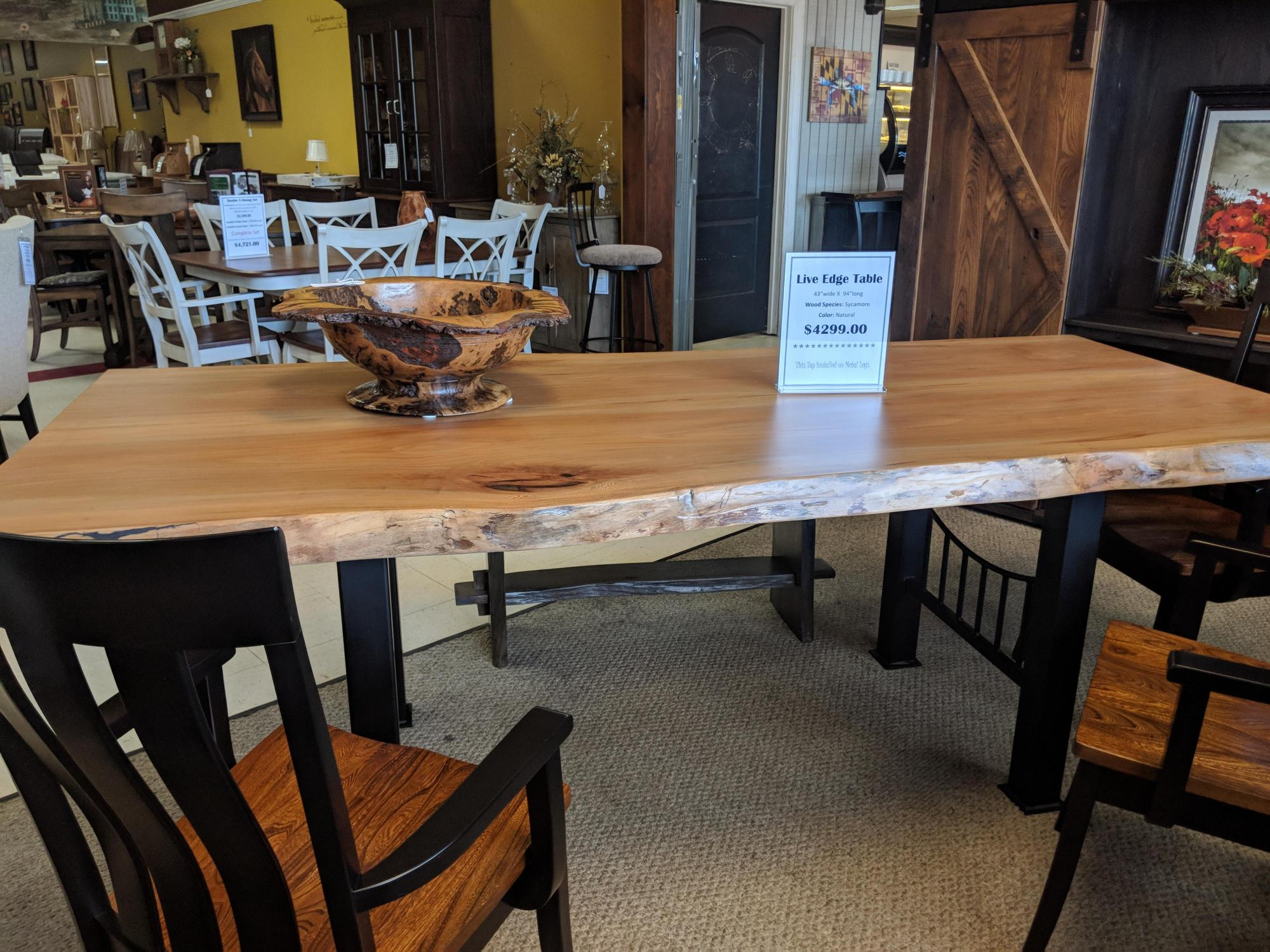 Beautiful sycamore conference table on metal legs