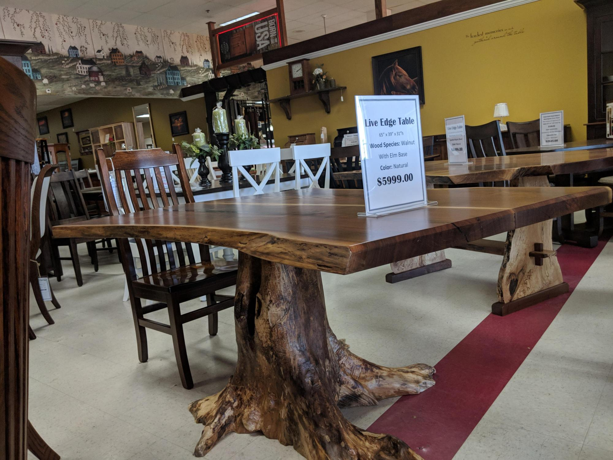 Walnut Dining Table with Elm Base