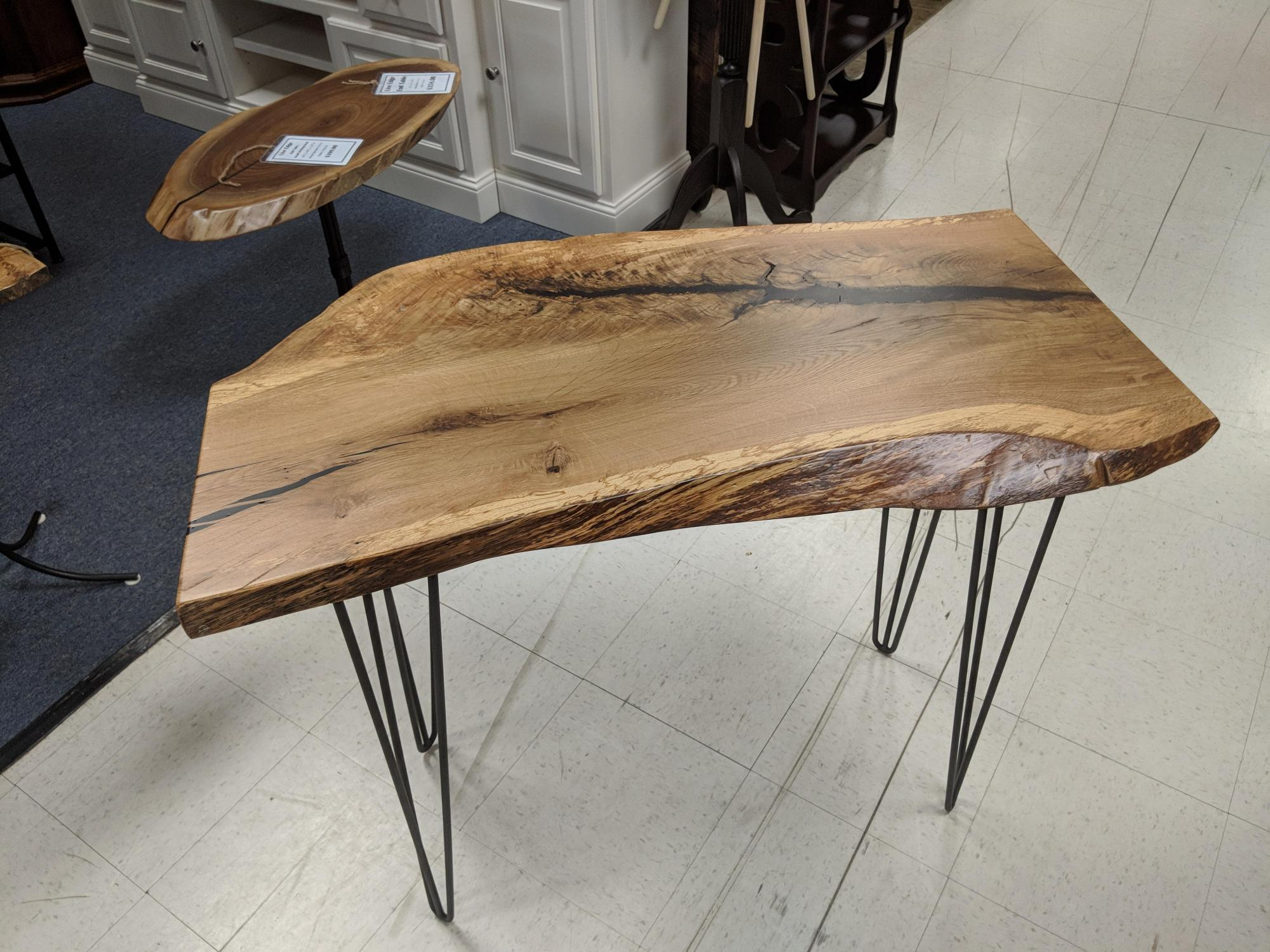 Rich Metal Leg Live Edge Occasional Table