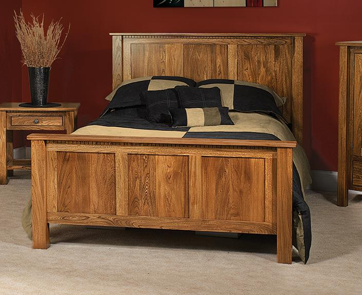 Lindholt Bed with straight headboard and footboard