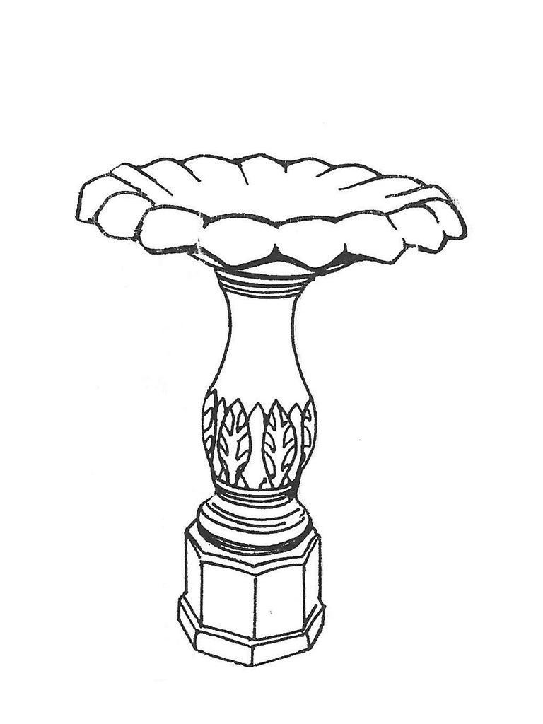 """Serrated Small Bowl - 23"""" diameter, Fern Leaf Base - 26"""" high"""