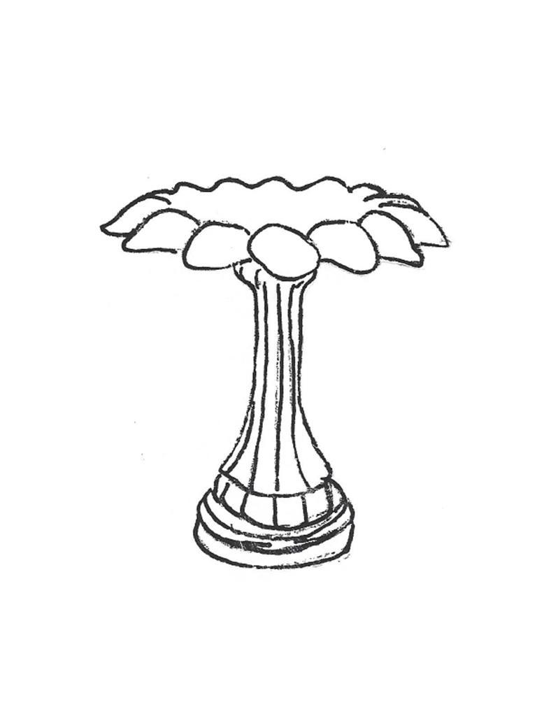 "Serrated Medium Bowl - 28"" diameter, Lamppost Base - 24"" high"
