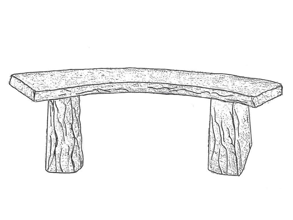 "Stone Bench - curved, 50"" long"