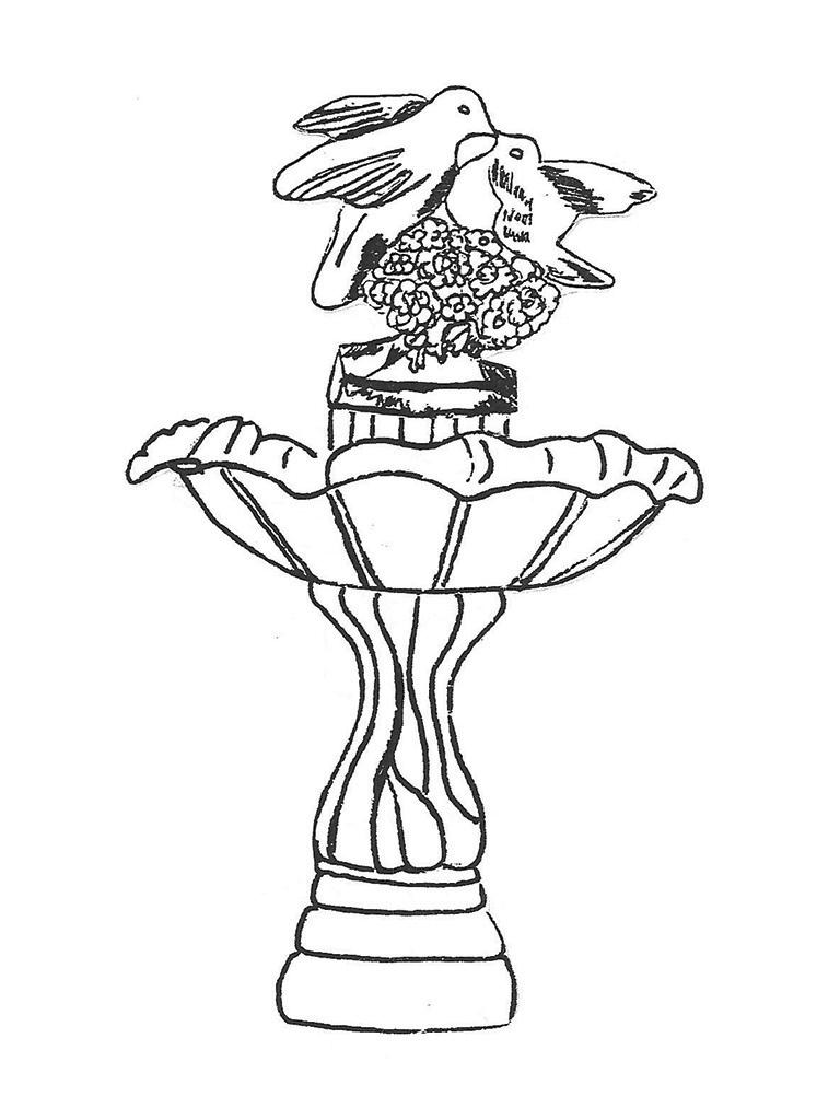 """One Bowl Tulip Fountain with Doves - 29"""" diameter, 45"""" high"""