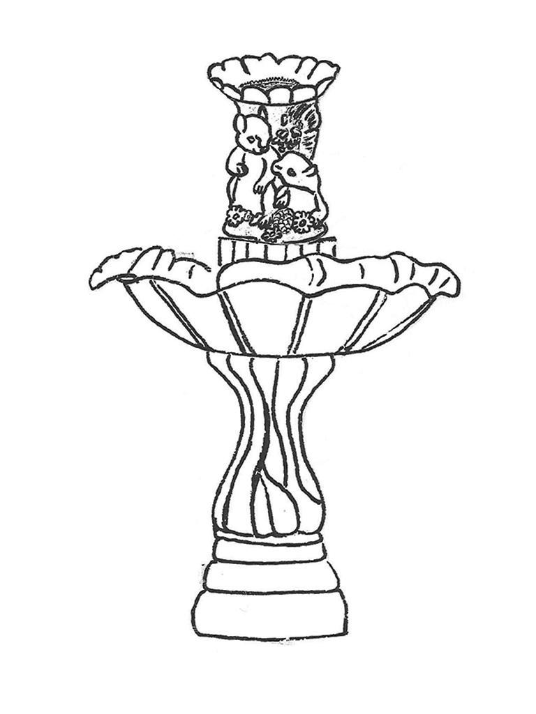 """One Bowl Tulip Fountain with Squirrels - 29"""" diameter, 42"""" high"""