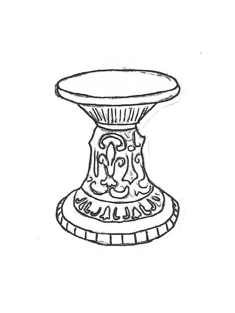"French Pedestal (seat) - 15"" diameter, 17"" high"