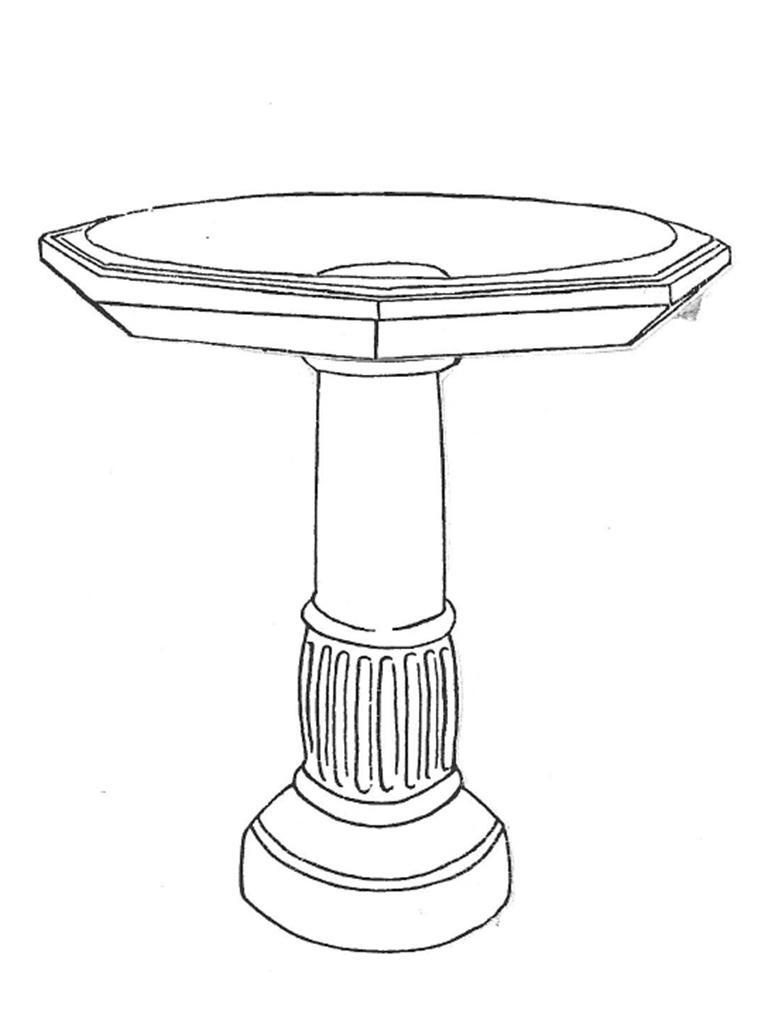"""Festooned Bowl - 28"""" diameter, Festooned Base - 30"""" high"""