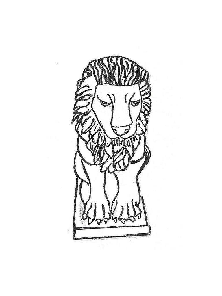 Small Sitting Lion - 19""