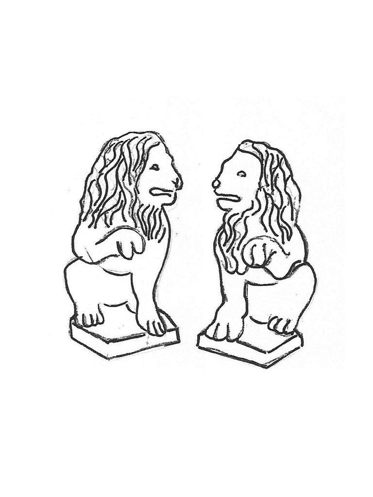"Paw-up Lion Pair - 24"""
