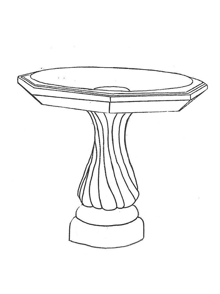 "Octagon Bowl - 28"" diameter, Medium Swirl Base - 21"" high"
