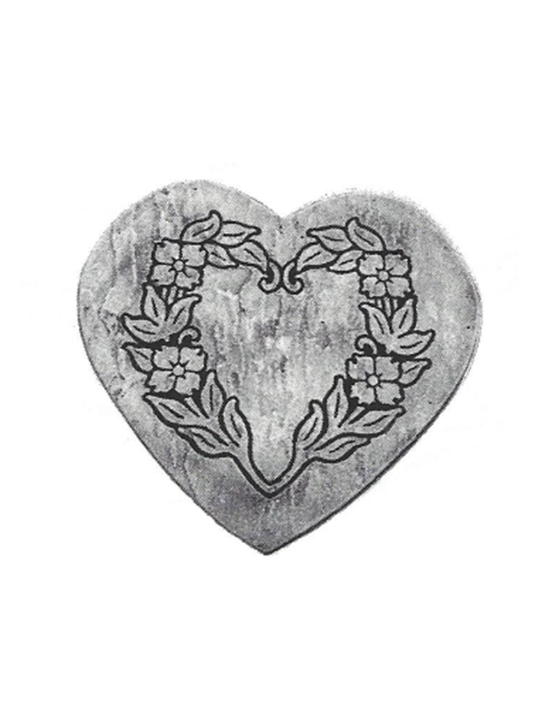 Stepping Stone - Floral Heart Stone - 18""