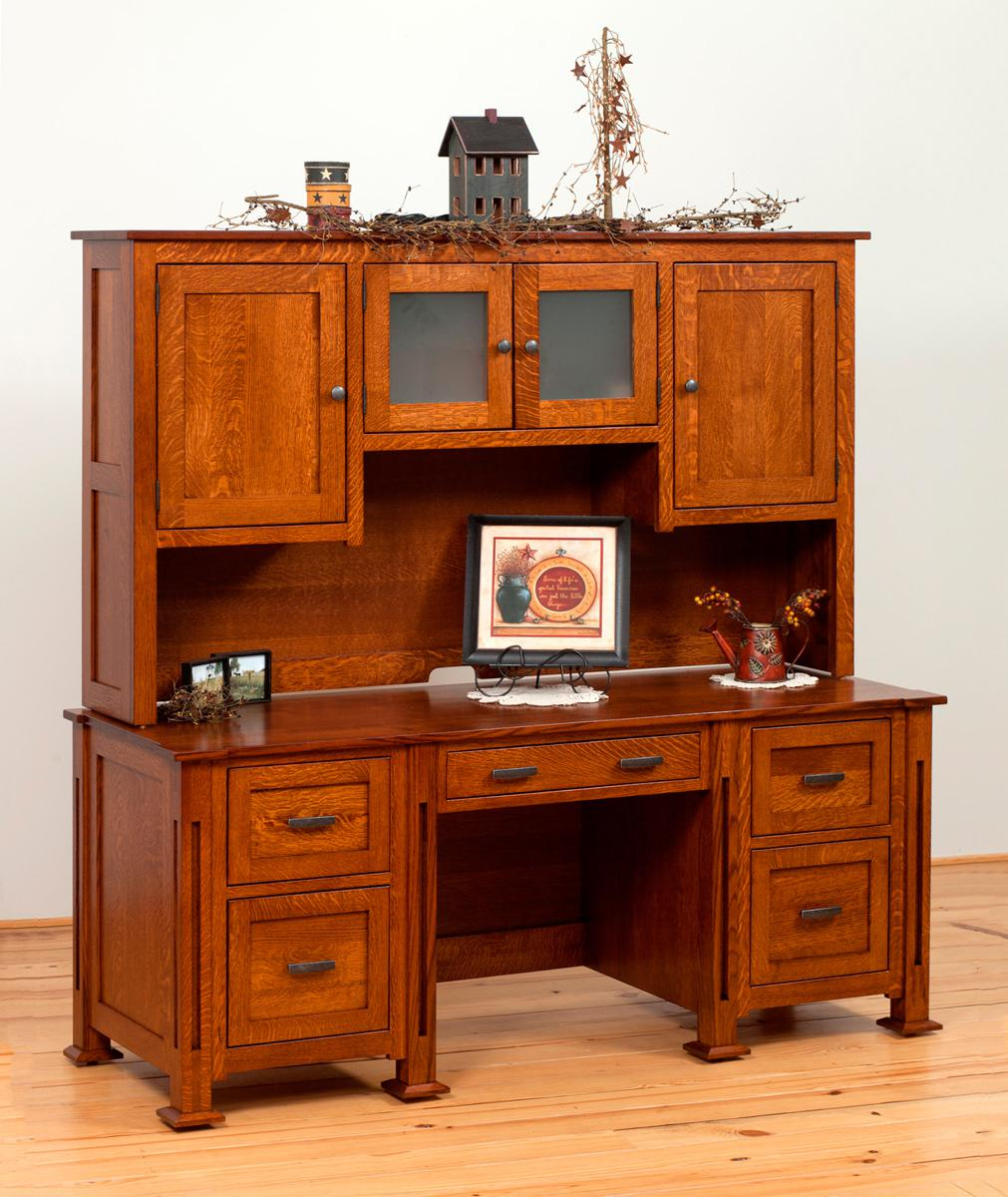 Parker Mission Office Collection Desk and Hutch